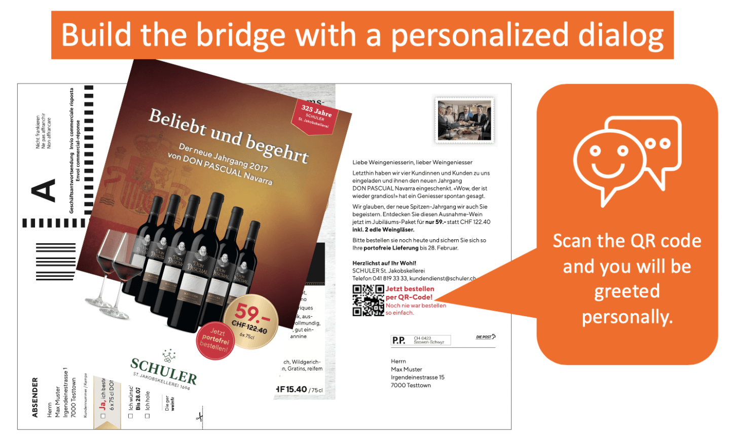 Place an order via postcard and personalized chat dialog